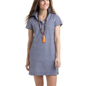 Vineyard Vines Gingham Shirt Dress Blue White Sz 0